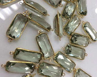 Sold by piece natural green amethyst vermeil gold 2 rings , size 7x15mm