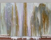"Reserved Custom Listing, White, Silver and Gold Winter Snow, Light Purple, Yellow, Bronze, Glitter Abstract Original Painting, 20""x30"""