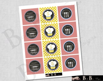 Chef or Cooking Birthday Party - 2 Inch Round Tags - PRINTABLE (red, yellow, blue)