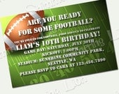 Custom Printable Invitation Football Kids Birthday Invite Super Bowl Party Autumn Fall