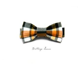 Frankie - Orange, Yellow, Black and Silver Plaid Velcro Adjustable Bow Tie