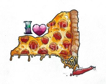 """I Love NY Pizza 8""""x10"""" Watercolor Giclee Print"""