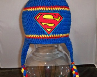 Crocheted Boys or toddler Superman Beanie with ear flaps