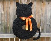 Halloween Wreath - Fall Wreath - Orange and Black Wreath - Cat Wreath - Fleece Wreath - Door Wreath - Autumn Wreath - Large Wreath