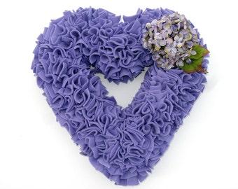 Spring Wreath - Easter Wreath - Lavender Wreath - Purple Wreath - Hydrangea Wreath - Fleece Wreath - Door Wreath - Rag Wreath