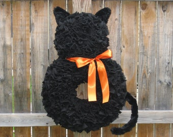 Halloween Wreath - Fall Wreath - Orange and Black Wreath - Cat Wreath - Fleece Wreath - Door Wreath - Autumn Wreath - Large Wreath