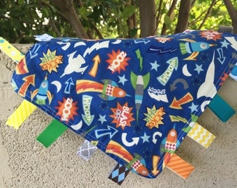 Rocket Ships Tag Blanket with your choice of Minky // In Stock, READY TO SHIP