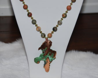 Long Beaded Stone Necklace with Copper Pendant