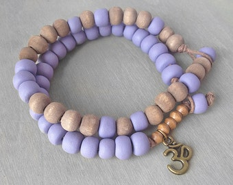 Lilac Om Bracelet - Lavender Yoga Bracelet Set - Om Aum Bracelet - Bronze Om Meditation Bracelet - Energy Bracelet