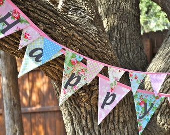 Delilah by Tanya Whelan Happy Birthday fabric banner bunting, birthday party decoration, photo prop, babys room decor
