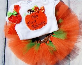 Babies First Halloween Pupmkin tutu-- Babies First Halloween dress-- Pumpkin tutu-- Pumpkin dress-- Pumpkin tutu dress