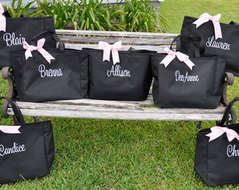Personalized Totes, 7 Bridesmaid Totes, Wedding Party Gifts, Monogrammed Totes, Wedding Day Totes, Personalized Tote Bags, Bridal Party Tote