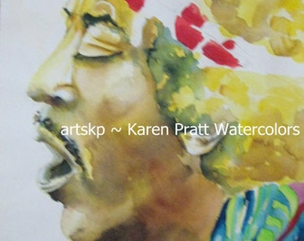Original Painting of Jimi Hendrix Circa 1972 by Karen Pratt watercolor on Arches paper.