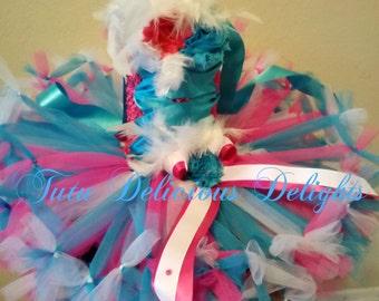 Cotton Candy Vanilla Hot Pink Turquoise and White Petti Tutu Dress
