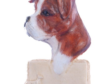 Boxer Dog Christmas Ornament Red Brown and White Boxer Ornament Personalized with your Dog's Name Made from Resin in the USA  (d226)
