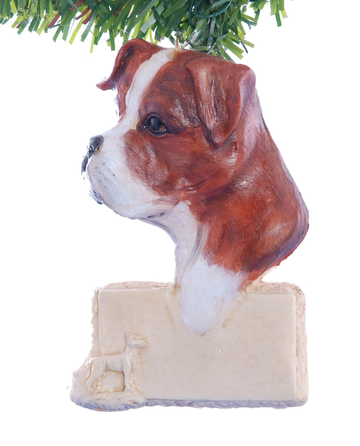 Boxer Dog Christmas Ornament Red Brown and White Boxer