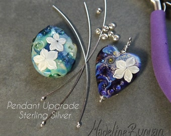 Sterling Silver Pendant Upgrade for Lampwork Focal Beads