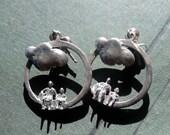 Sterling Artisan Earrings Cloud Hoops Stud Posts