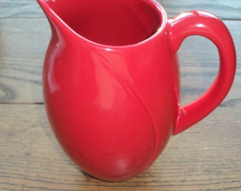 Retro Ceramic Juice Pitcher with a Bright Red Glazed Finish, A  Cottage Chic Style Pitcher with great lines and design in Mint Condition
