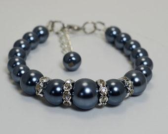 Set of 6 - Pewter Pearl Bracelet and Earrings , Bridal Jewelry, Wedding Bracelet, Crystal Jewelry, Pearl and Crystal Bracelet and Earrings
