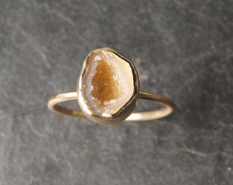 Champagne Geode Druzy Ring in Solid 14K Yellow Gold - SIZE 7 - 7.5