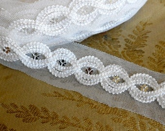 White Silver Sequined Trim