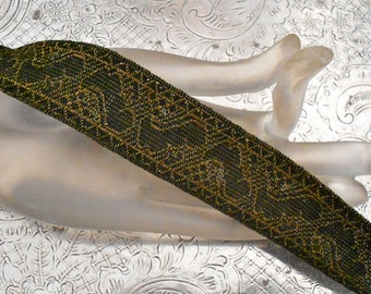 Victorian Olive Green Metallic Trim