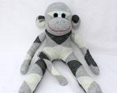 Sock Monkey Doll / Gray Argyle / 16 inches