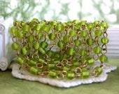 Beaded Chain, Glass Bead Chain, Chain, Bead Chain, Rosary Chain, Jewelry Chain, Brass Chain, Peridot Bead Chain  CHN-119