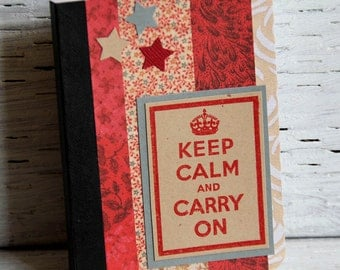 Red Mini Journal with Motivational Phrase, Pocket Notebook, Altered Composition Book, Vacation Planner, Personal Diary, Inspirational Quote
