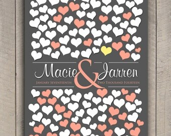 BRIDAL GIFT POSTER   151 Guest Sign In 20x30   Modern Guestbook Print Poster   Wedding Heart Guestbook Poster   Interactive Art Print _03