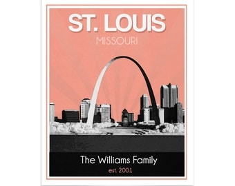 St. Louis Skyline Wedding Gift - Personalized - Anniversary - Custom Date  Location City and State Modern Art Print Missouri Arch