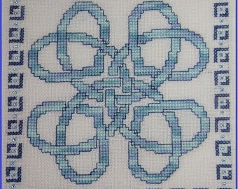 Tying The Knot Cross Stitch Pattern PDF Chart Celtic Knotwork Instant Download Wedding Ring Pillow Biscornu  Knots Celtic Hearts