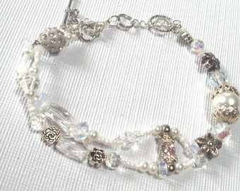Wedding Day Dreams Swarovski Bridal Bracelet, Unique Double Bracelet ,Pearls, Silver and Crystal Wedding Day, Bridal Party,Holiday, Bracelet