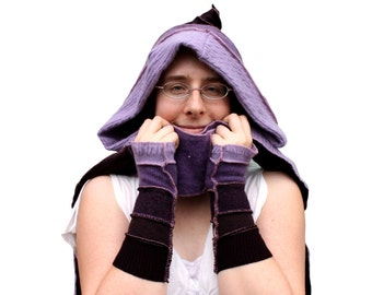 Upcycled purple scoodie, hood, scarf