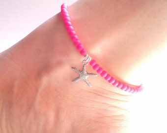 Neon Pink Ankle Bracelet, Starfish Charm Anklet, Glass Bead Anklet, Neon Pink Jewelry, UK Seller