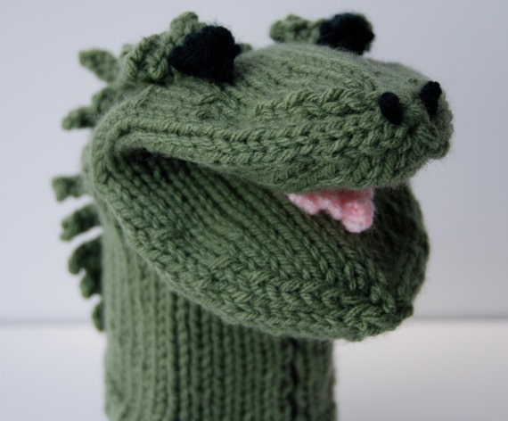 Cable Mittens Knitting Pattern : Hand knit puppet hand puppet lizard puppet alligator