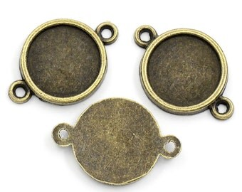8 Connector Setting Frame for Cabochon -Antique Bronze - 25x17mm (Fits 14mm) - 8pcs  - Ships IMMEDIATELY  from California - BC722