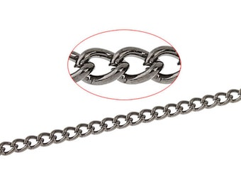 Gunmetal Link Soldered Curb Chain - Dainty - 2.4x1.6mm - 10M - 32 Feet  - Ships IMMEDIATELY from California - CH318