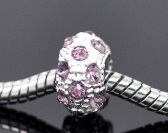3 Rhinestone Beads - Mauve - Silver - 11x6mm - Ships IMMMEDIATLEY from California - B1084