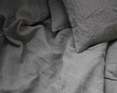 "Pair of Linen Pillowcases Shams King Natural Gray Grey Flax 20""x36"" Handmade Eco"