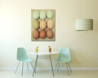 Kitchen Canvas, Food Wall Art, Egg Photography, Brown and Mint Decor, Modern Canvas Artwork, Oversized Wall Hanging