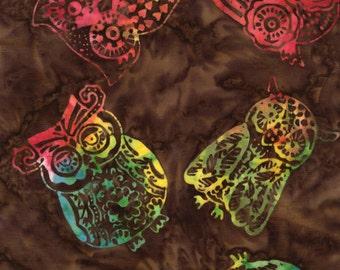 Timeless Treasures - Tonga Batik - Owls - Fudge
