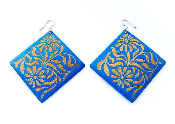 Blue Flower Carved Wooden Earrings