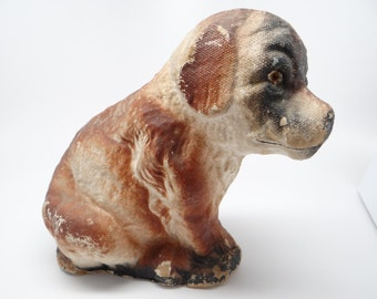 Vintage 1950's Dog Puppy Candy Container, made with Pulp Paper Mache, Glass Eyes