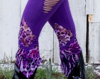 Purple and Leopard print lace leggings with Cutouts Small or Medium