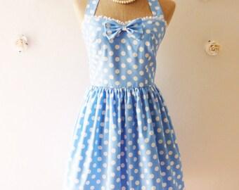 Vintage Sundress Blue Summer Dress Blue Polka Dot Dress Cute Vintage Dress Alice in Wonderland Tea Dress Cotton Dress Casual Dress