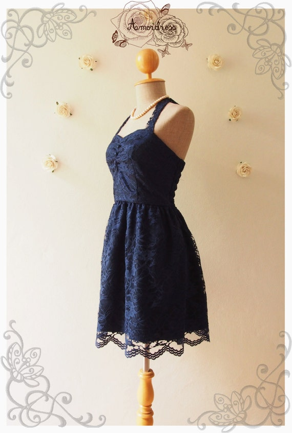 Midnight Blue Lace Dress Navy Lace Dress Vintage Inspired Romantic Dress Lace Cocktail Dress Prom Dress Party Dress - Size XS, S