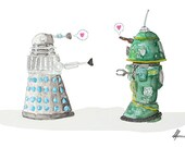 Robot Love Postcard Print - Star Wars meets Doctor Who, Dalek and R1-4G - Perfect for Valentines Day.