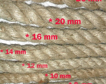 12 mm Jute Bondage Cord Rope Natural Decorated  - 1 Spool - 5 yards